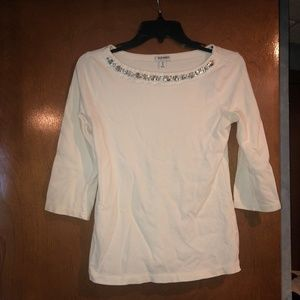 White 3/4 sleeve with jewel collar accent